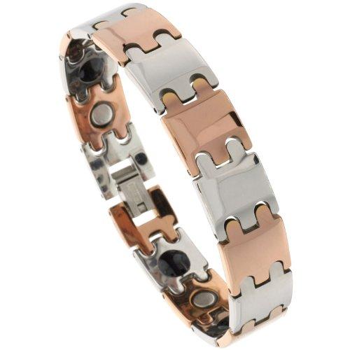 Sabrina Silver Tungsten 2-Tone (Gun Metal & Rose Gold) Bar Link Magnetic Bracelet, 1/2 in. (12mm) wide (BTN161)