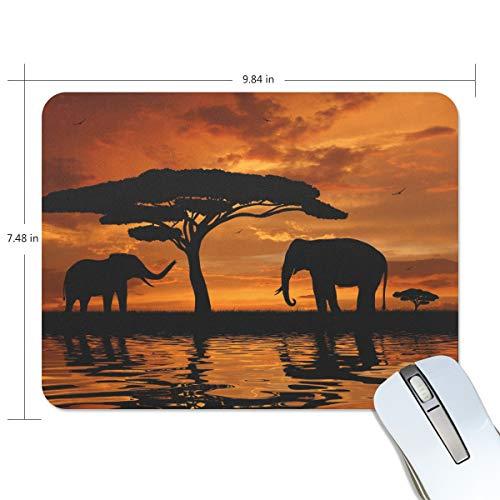 Alfombrilla de ratón FANTAZIO con diseño de elefantes y baobabs africanos en...