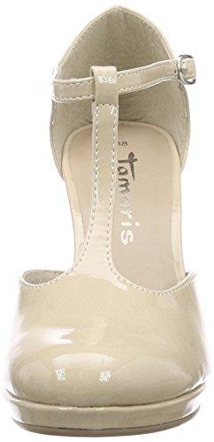Tamaris 24428, Chaussures à talons avec bride style salomés femme Beige - Beige (CREAM PATENT 452)