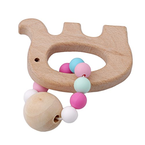 Albeey Baby Ring Teether Wooden Infant Teething Toy (elephant) 41Ve7DNZ4tL