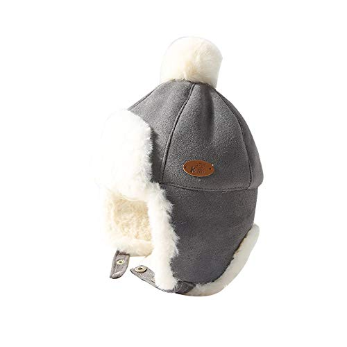 Sherpa Baumwolle Hut (LAPLBEKE Baby Jungen Sherpa Wintermütze Warm Gefüttert Mütze Grau)