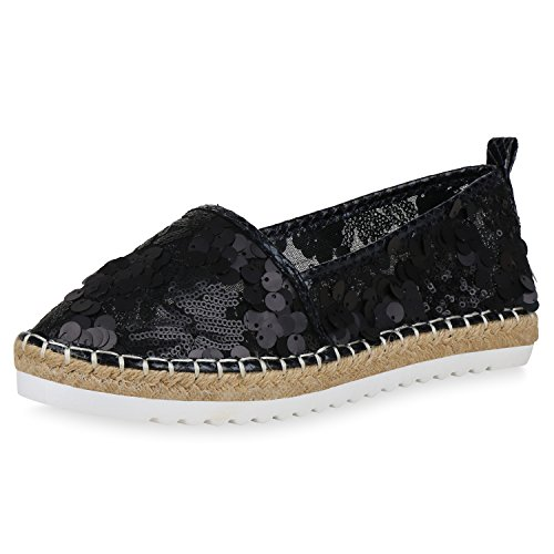 scarpe vita damen slippers espadrilles mit plateau bast pailletten