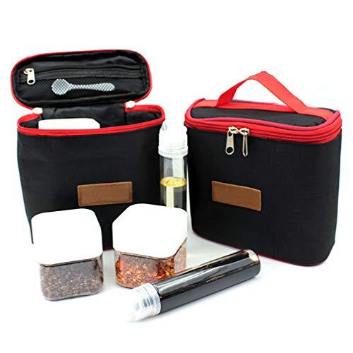 Kbstore barattoli piccoli con borsa da trasporto - vasetti di condimento portatile per campeggio/barbecue/viaggio/cucina(set di 6 pezzi)#2