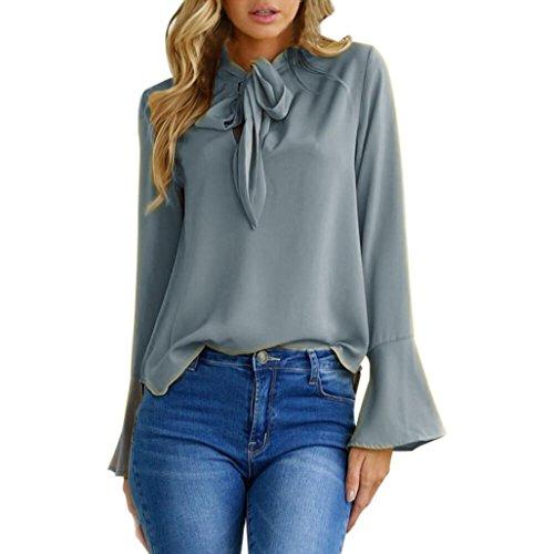 ESAILQ Damen Sportlich T-Shirt V Ausschnitt Kurzarm Top(XL,Grau)