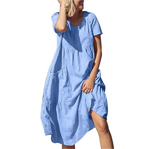 Tohole Damen Kleid Frauen Boho Rundhalsausschnitt beiläufige lose Kaftan Mittelalter Kleidung Boho Kleider Maxikleid Bequemes Kleid mit Tasche Kleid (Blau,2XL) - 2 Tür-bettwäsche-schrank