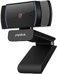 papalook Webcam 1080P, AF925 con Enfoque Automático y Micrófono de Reducción de Ruido,Diseño Plegable, Girator