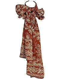 Pure Silk Batik Frangipani Scarf in Golden Bronze