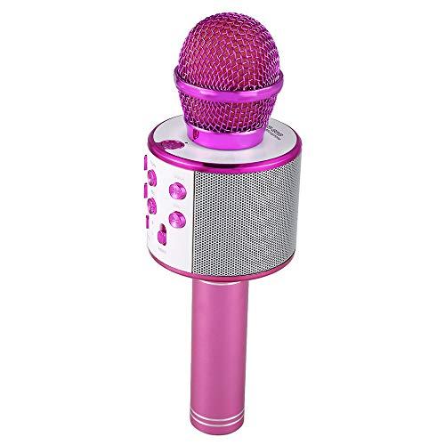 Massage Drahtloses Bluetooth-Karaoke-Mikrofon, tragbares Karaoke-Lautsprecher-Home-Party-Geburtstags-Reise-Spielzeug für Android/IOS,pink (Massage-lautsprecher)