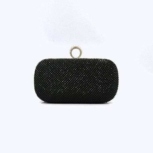 Pochette Donna Gshga Black Diamond Evening Bags Borse Crossbody Borsette, Nero Nero