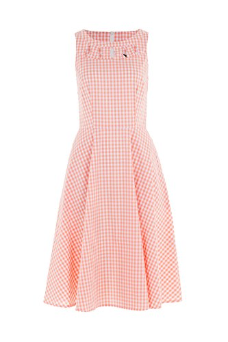 Voodoo Vixen Damen Kleid Gingham Pepita Vintage Dress Rosa XL (Rosa Pencil-skirt)