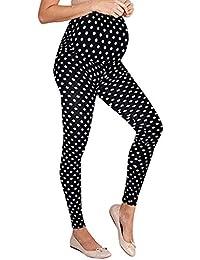 SUNNSEAN Pantalones Leggings para Premamá, Mujeres Embarazadas Moderna de Lunares Leggins Maternidad Largo Mujer Cintura Alta Elástica Tallas Grandes Ropa Premama