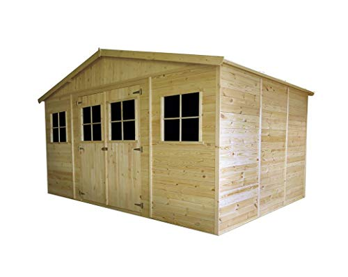 Generico - Caseta de madera 400 x 300 x 246 cm, madera de pino 19 mm grueso sin tratamiento
