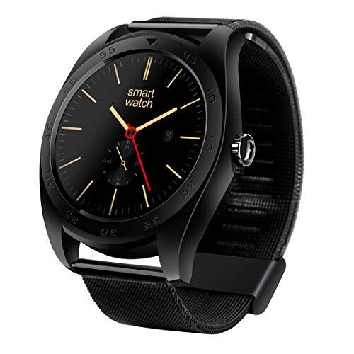 HUANGMENG Smart Watch Orologio K89 Classic Watch Design Metal Band Bluetooth 4.0 Smartwatch a frequenza cardiaca, Pedometro/Promemoria sedentario/Monitor sonno/Cattura remota/Anti-perso (Nero)