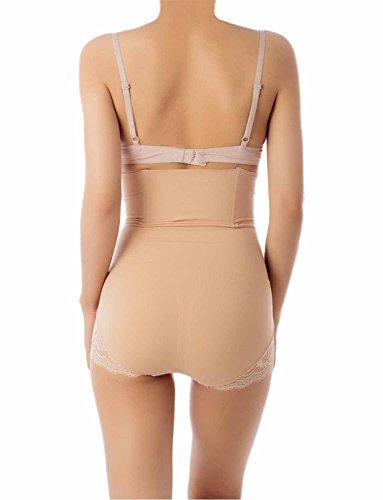 iB-iP Damen Hallo Taille Cincher Nahtlos Shapewear Ba Hohe Taille Control Panty Beige