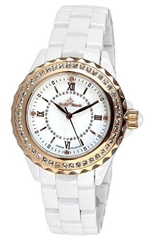 Stella Maris STM15E3 - Montre Femme Cadran blanc Quartz Analogique Bracelet Céramique blanc avec diamants et éléments Swarovski