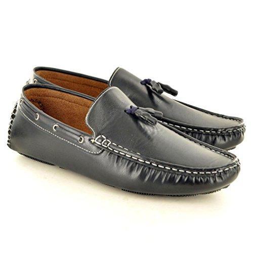 Herren Slip auf Loafer fahren Schuhe mit Quaste Detail Dark Navy ( Almost Black)