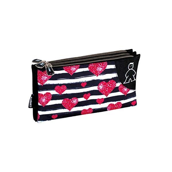 Campro- Estuche, Color negro, rosa (Perona 56843)