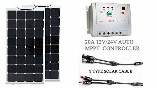 1 panel solar flexible de 100 W 18 V, 2 piezas; tamaño: 1060 mm x 540 mm x 2 mm/2, 20 A, controlador de carga solar MPPT automático de 12 V/24 V; 1 cable solar de tipo Y, hembra y macho; 1 juego; cable solar de extensión 3 M; rojo y negro; 1 juego; C...