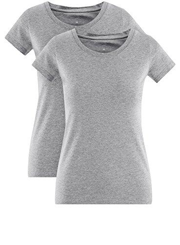 oodji Ultra Damen T-Shirt Basic aus Baumwolle (2er-Pack) Grau (2000M)