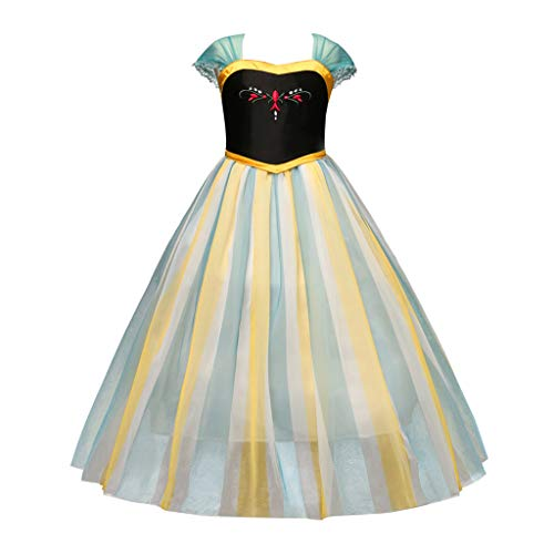 Cuteelf Kinder Prinzessin Rock Kurzarm floral Stitching mesh Kleid Kleid Rock cos Prinzessin Kleid Party Ball kostüm Disney Kleid mädchen Blumendruck tüll Party (Disney 3 Musketiere Kostüm)