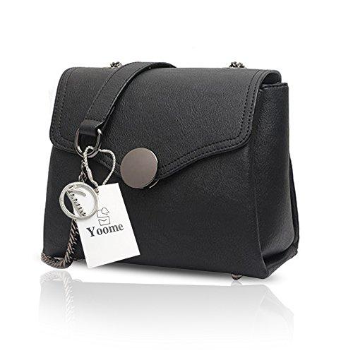 Yoome Printing Retro Taschen für Schulter Stilvolle Taschen für Frauen Damen Geldbörsen Geldbörse - Grau Schwarz