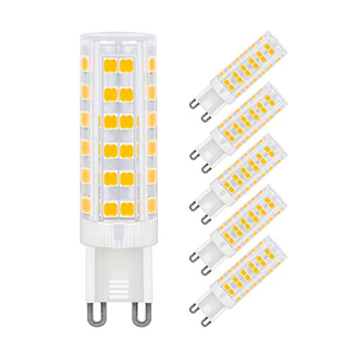 MENTA LED G9 Lampen, 7W Ersatz für 60W Halogen Lampen Warmweiß 3000K, G9 LED Birnen 450lm AC220-240V, Globaler 360° Abstrahlwinkel, 5er Pack -