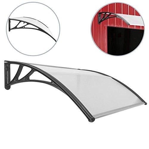 PrimeMatik - Tejadillo de protección Marquesina para puertas y ventanas negro 120x100cm