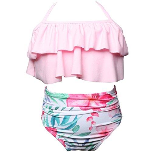 (Trada 2pcs Kleinkind-Baby-Mädchen-Rüschen-Badebekleidung, die Bikini-gesetzte Ausstattungs-Badeanzug badeten Kinder Baby MädchenTop Slip Stirnband Set Bademode Bikini Tankini Sommer (116, Rink))