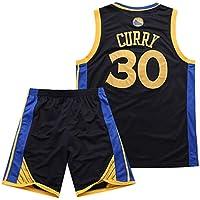 Traje de Baloncesto de Verano de la NBA Warriors Curry 30th Jersey Bordado,Black,