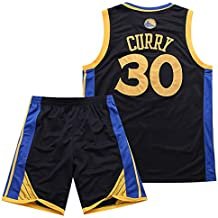 Traje de Baloncesto de Verano de la NBA Warriors Curry 30th Jersey Bordado,Black,