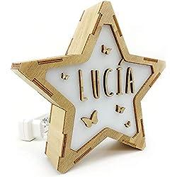 Lolapix Lámpara Luminosa Personalizada con Nombre. Estrella de Madera. Varios diseños. Mariposas
