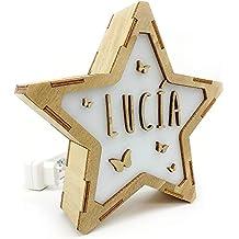 Lolapix Lámpara Luminosa Personalizada con Nombre. Estrella de Madera. Varios diseños.