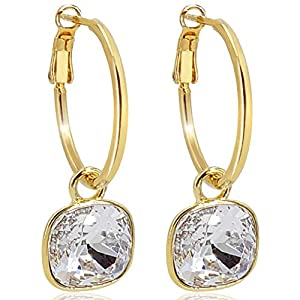 Gold Creolen mit Swarovski® Kristalle Ohrringe 925 Sterling VIELE FARBEN 2 GRÖSSEN – NOBEL SCHMUCK