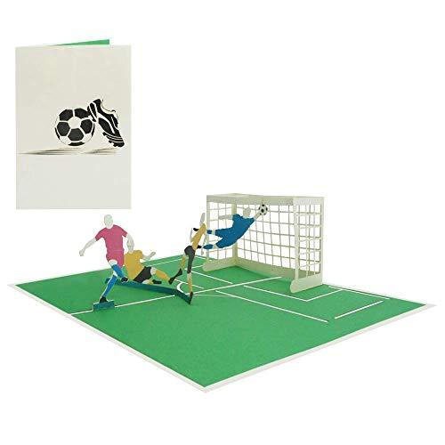 3D Pop Up Karte Fußball Geburtstagskarte Fussballspieler Gutschein Grußkarte Sport Glückwunschkarte Glückwunsch Geburtstag - Fußball