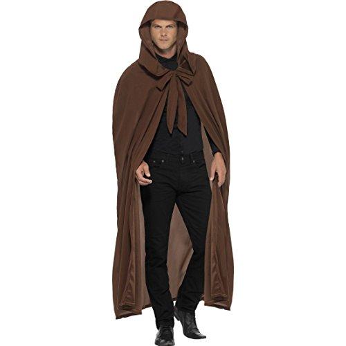 Amakando Mittelalter Umhang mit Kapuze - braun - Mittelalterliche Gewandung Halloween Kleidung Herren Kapuzenumhang Cape Star Wars Mantel Jedi Ritter Kostüm