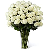 Floral Fantasy Fresh Flower Bouquet (Bunch Of 30 White Roses in Glass Vase)