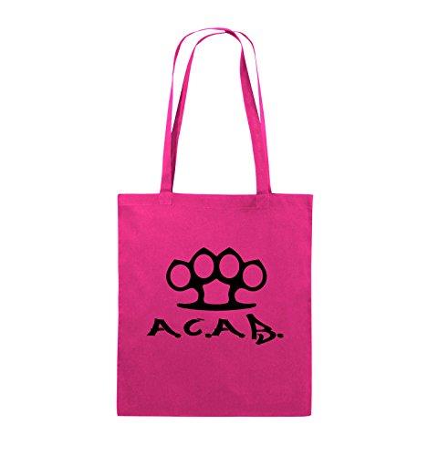 Comedy Bags - A.C.A.B. - SCHLAGRING1 - Jutebeutel - lange Henkel - 38x42cm - Farbe: Schwarz / Silber Pink / Schwarz