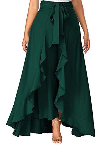 SBJ COLLECTIONS Women' Ruffle Pants Split High Waist Maxi Long Crepe Palazzo Overlay Pant SkirtWomen' Ruffle Pants Split High Waist Maxi Long Crepe Palazzo Overlay Pant Skirt (dark green)