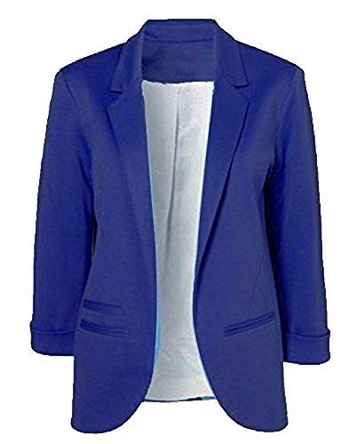 Winfon Damen Taillierter Blazer Baumwolle 3/4-Arm Business Kurzblazer Cardigan Outwear (XL, Blau)