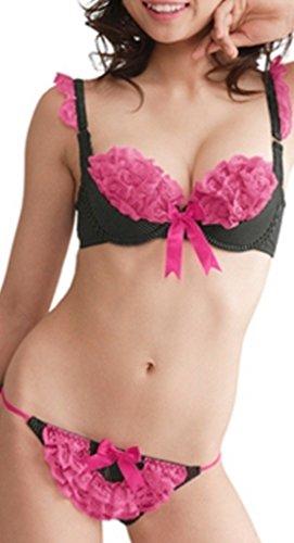 aimerfeel Lingerie-Bande broches Sexy et froufrous rose mis de soutien-gorge lacés -Femme,Fille-push up 90C (42-44)