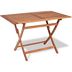 vidaXL Bois de Teck Table à Dîner Pliable de Jardin Table d'Extérieur Mobilier