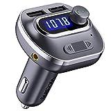 VICTSING Transmetteur FM Bluetooth Kit Voiture sans Fil Radio Mains Libres Adaptateur Lecteur Voiture USB avec Double Port USB, Affichage LCD, Bouton Off Support Aux Entré, Noir