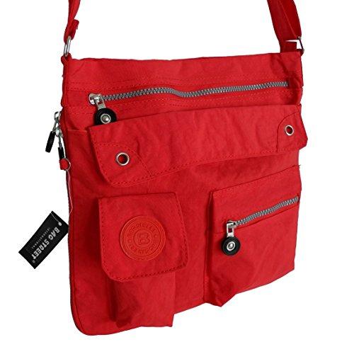 Bag Street borsa Borsa A Tracolla Borsa A Tracolla, Nylon per vacanza Sport ricreativo scuola Body Bag Messenger Bag-präsentiert von ZMOKA®, Rot (rosso) - 0