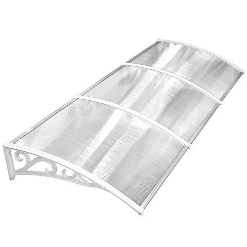 Mvpower pensilina tettoia per porta balcone esterno tenda da veranda pensilina alveolare in policarbonato (270*98.5cm, bianco)