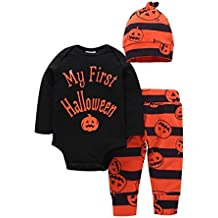 Halloween Vêtements kit Unisex Bébé Fille Garçon Citrouille Imprimé Romper Tops Manches longues Bodys Bebe+Rayé Pantalon+Chapeau Longra Deguisement Halloween Pas cher Doux Confortable