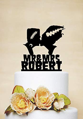 Tortenaufsatz Frankenstein und Braut, für Halloween, Hochzeitstorten, Frankenstein-Silhouette, personalisierbar