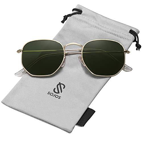 SOJOS Retro Vintage Specchio Polarizzate Lenti Poligono Protezione UV Occhiali da Sole SJ1072 Con Oro Telaio/G15 Lente