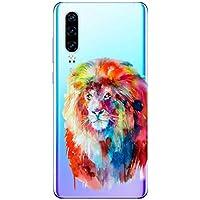Oihxse Compatible con Huawei P40 Funda Suave Gel TPU Silicona Cristal Transparente Carcasa Acuarela Animal Pintado Patrón Protectora Estuche Bumper Caso Case (B8)