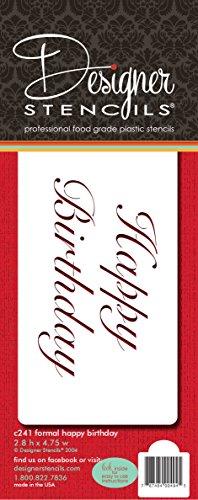 Designer Schablonen C241Fancy Happy Birthday Kuchen Schablone, beige/halbtransparent -