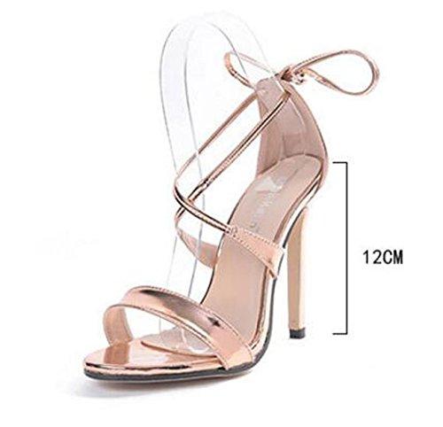 Beauqueen Ankle Ties Fête de mariage Populaire Sandales à Rome Fine Belt Hollow Open Toe Stiletto High Heel Femmes Femmes Casual Sandals Taille de l'UE 35-40 Gold